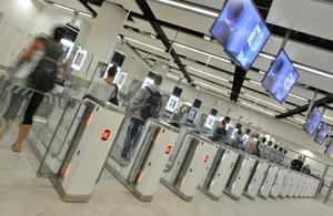 Photo of people at ePassport gates.