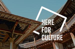 Image du logo Here for Culture sur le ciel au-dessus du Globe Theatre de Londres