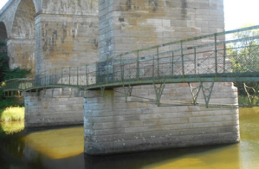 Picture showing the soon-to-be refurbished suspended footbridge