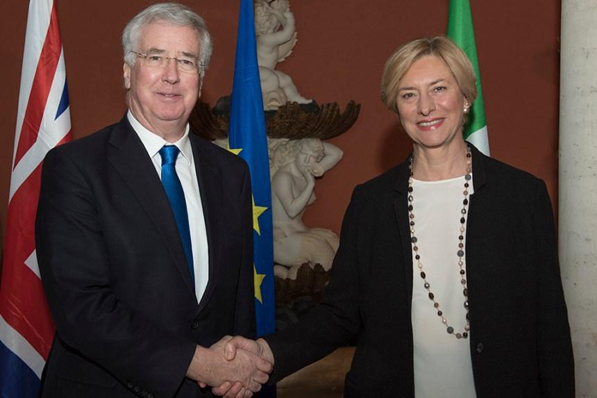 Defence Secretary Sir Michael Fallon today met with his Italian counterpart Roberta Pinotti. Picture: Ministero della Difesa Italiana - Ufficio Pubblica Informazione.