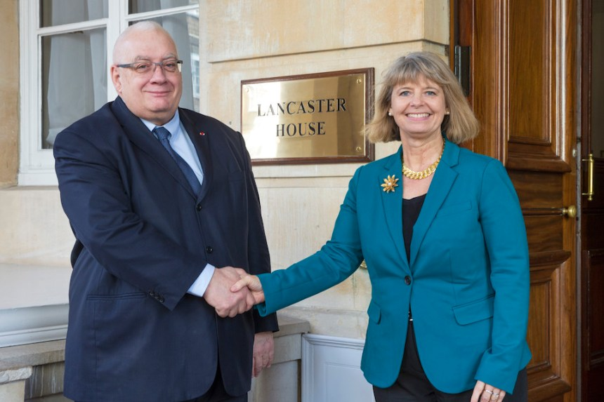 Defence Minister Harriett Baldwin with her French counterpart Laurent Collet-Billon