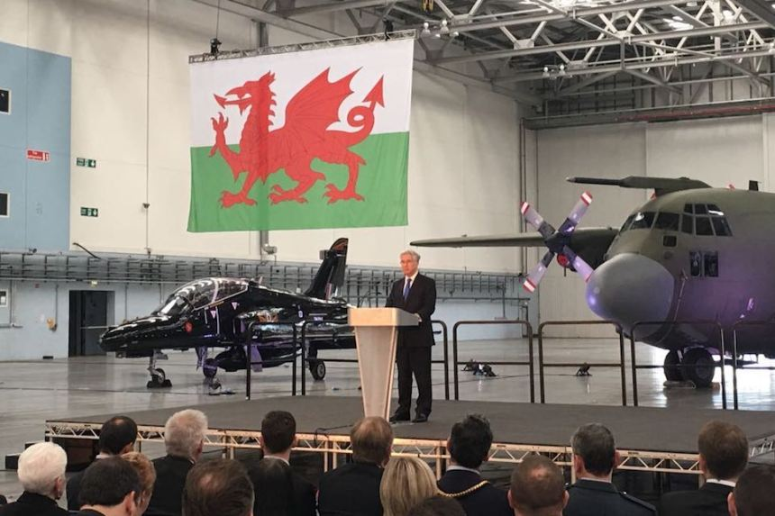 Defence Secretary Sir Michael Fallon speaking at St Athan