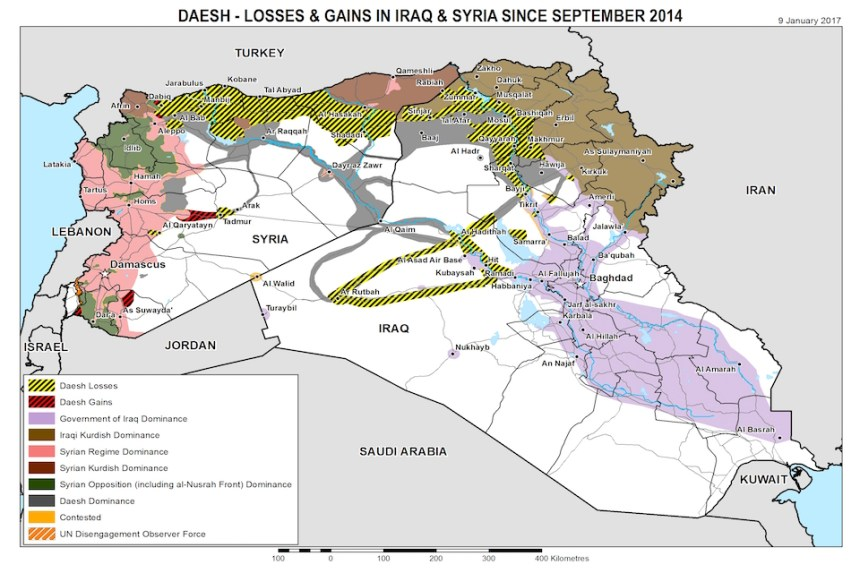 Campaign map showing ISIS losses and gains since September 2014