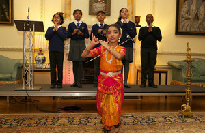Children perform during the 2017 Downing Street Diwali reception.