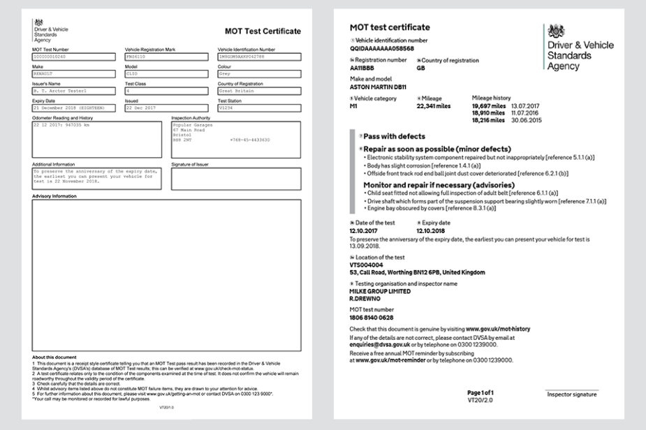 Current and new MOT certificate design