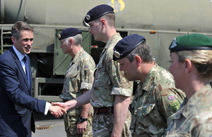 Defence Secretary Gavin Williamson meets with soldiers from 38 (Irish) Brigade during a visit to Northern Ireland.