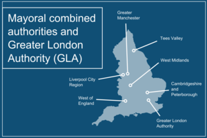 A map of the mayoral combined authorities and the Greater London Authority