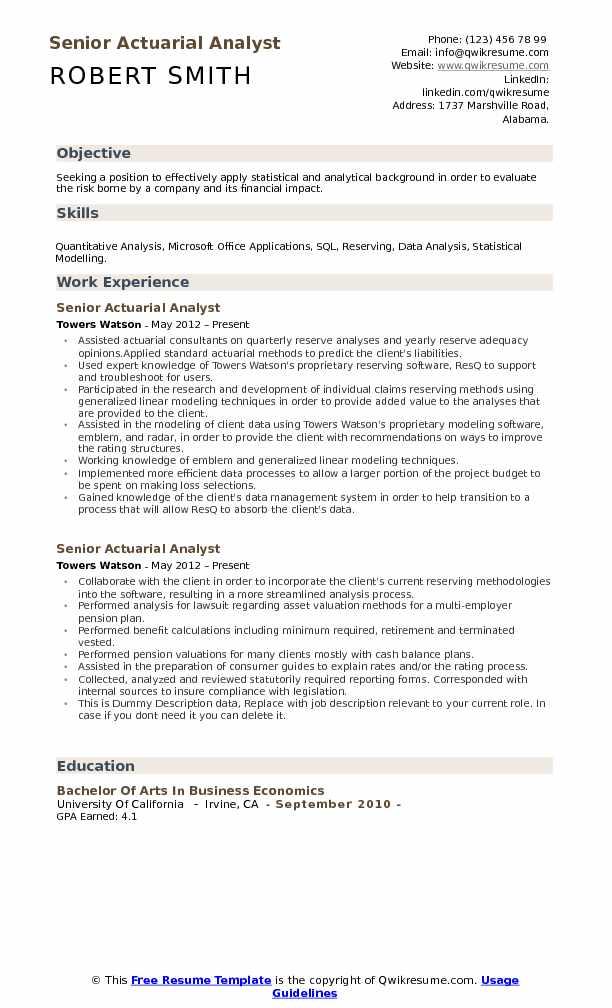 Actuarial Yst Resume Samples Qwikresume