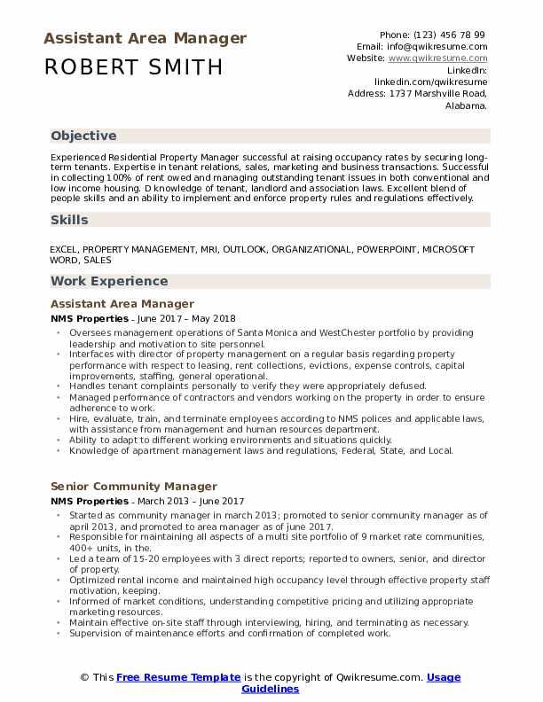 Area Manager Resume Samples Qwikresume