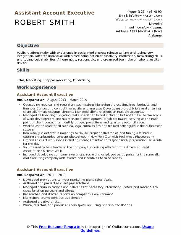Assistant Account Executive Resume Samples Qwikresume
