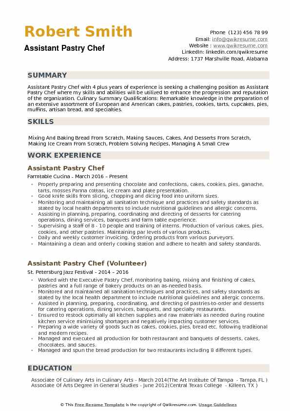 Istant Pastry Chef Resume Samples