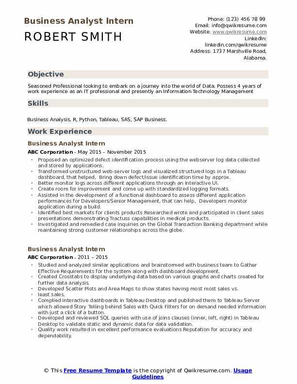Business Analyst Intern Resume Samples Qwikresume