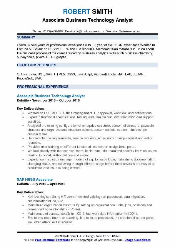 Business Technology Yst Resume
