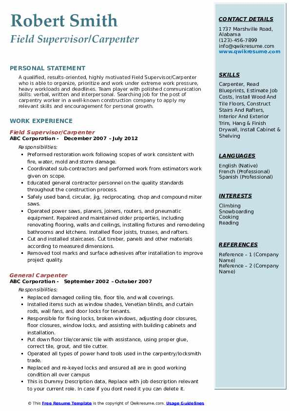 Carpenter Resume Samples Qwikresume