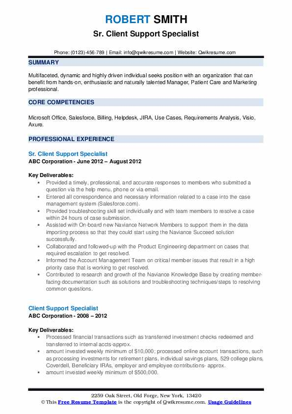Client Support Specialist Resume Samples Qwikresume