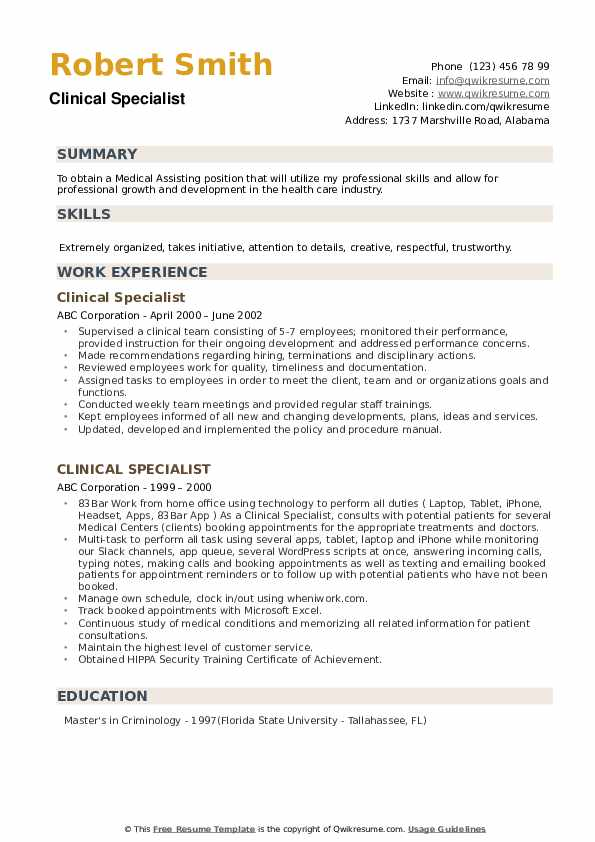 Clinical Specialist Resume Samples Qwikresume