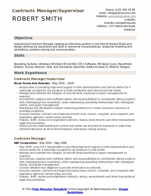 Contracts Manager Resume Samples Qwikresume