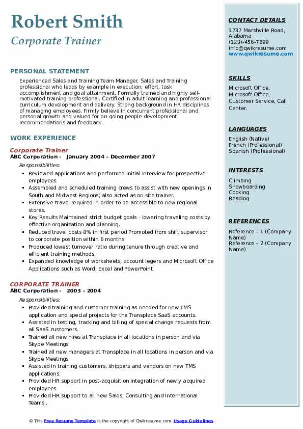 Corporate Trainer Resume Samples Qwikresume