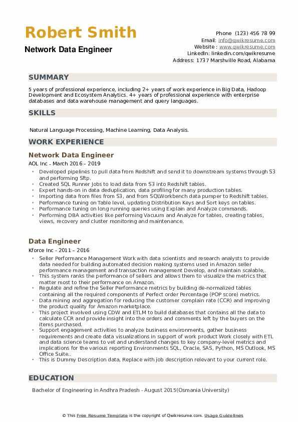 Data Engineer Resume Samples Qwikresume
