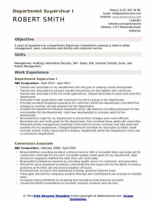 Department Supervisor Resume Samples Qwikresume