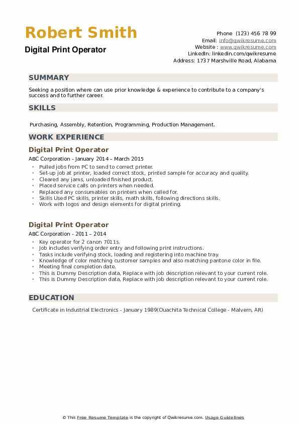 Digital Print Operator Resume Samples Qwikresume