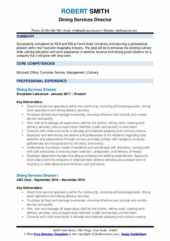 Dining Services Director Resume Samples Qwikresume