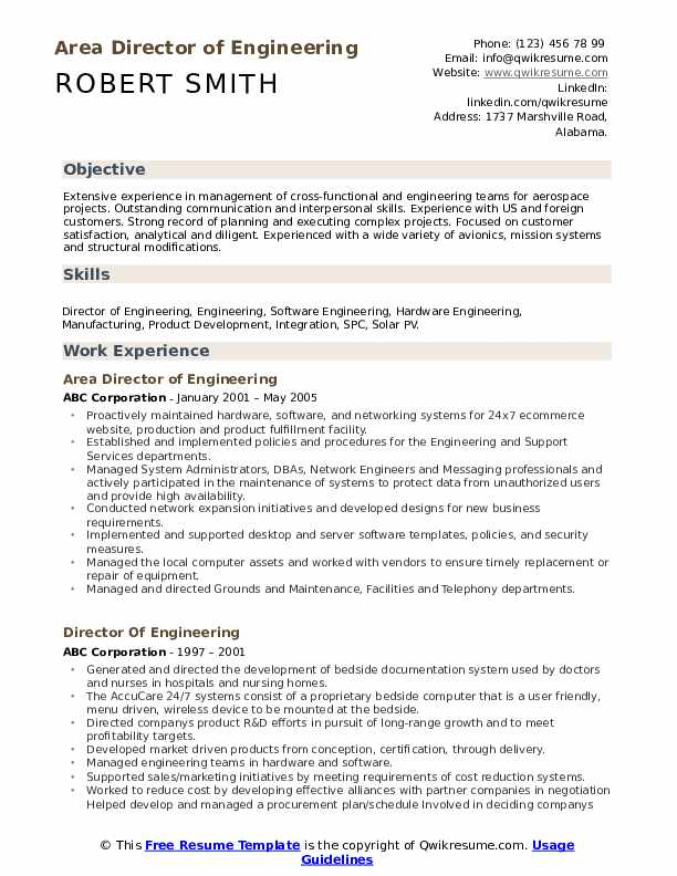 Director Of Engineering Resume Samples Qwikresume