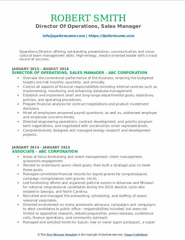 Director Of Operations Resume Samples Qwikresume