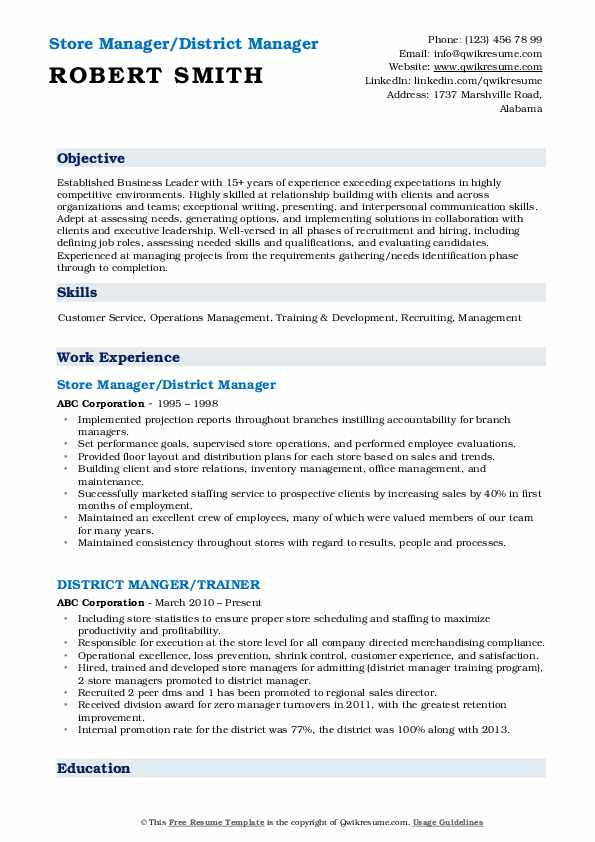 District Manager Resume Samples Qwikresume