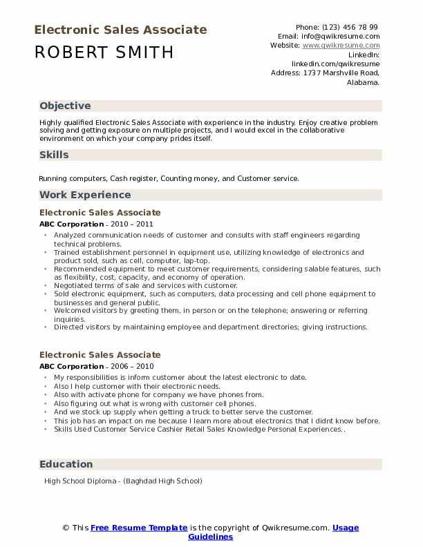 Electronic Sales Associate Resume Samples Qwikresume