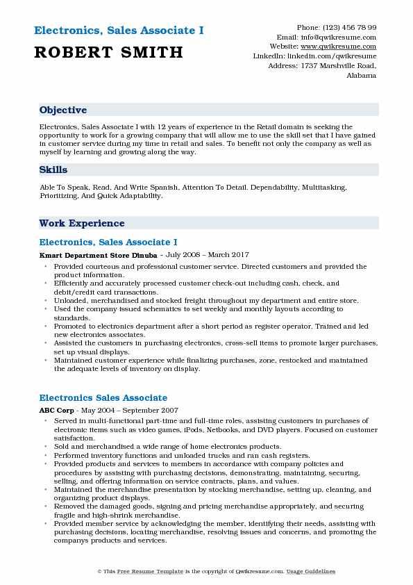 Electronics Sales Associate Resume Samples Qwikresume