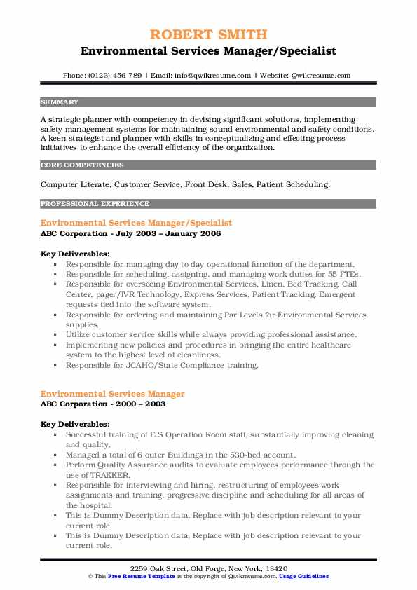 Environmental Services Manager Resume Samples Qwikresume
