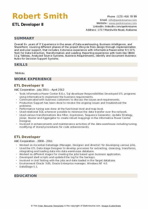 Etl Developer Resume Pdf March 2021