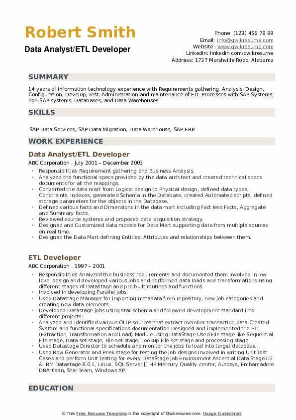 Etl Developer Resume Objective April 2021