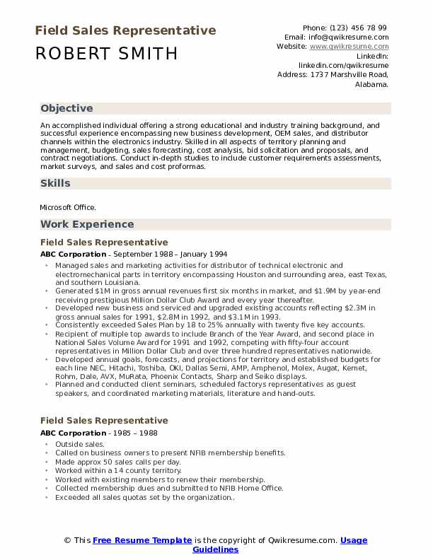 Field Sales Representative Resume Samples Qwikresume