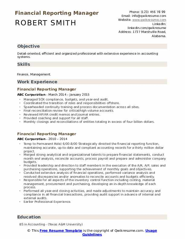 Financial Reporting Manager Resume Samples Qwikresume