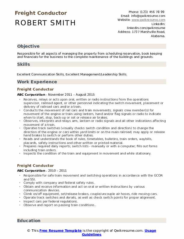 Freight Conductor Resume Samples Qwikresume