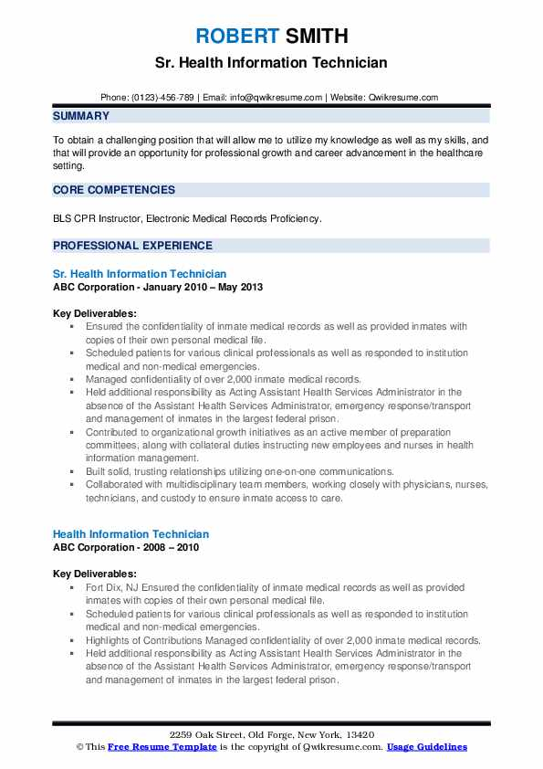 Health Information Technician Resume Samples Qwikresume