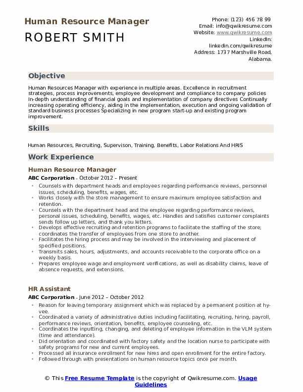 Human Resource Manager Resume Samples