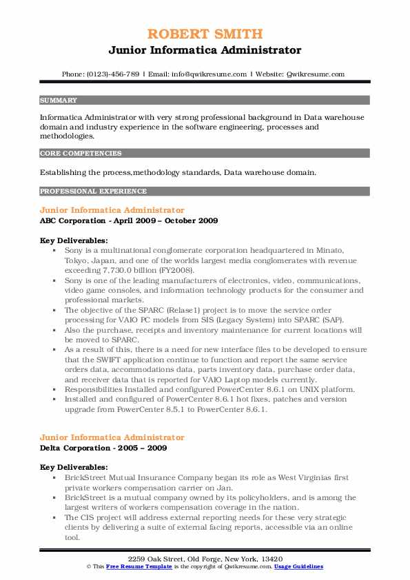 Informatica Administrator Resume Samples Qwikresume