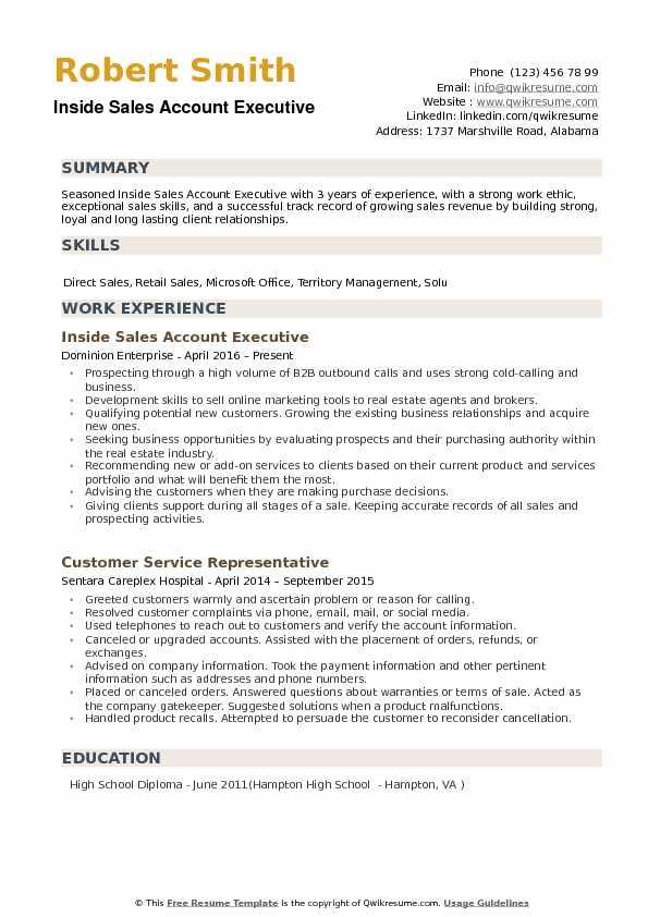Inside Sales Account Executive Resume Samples Qwikresume