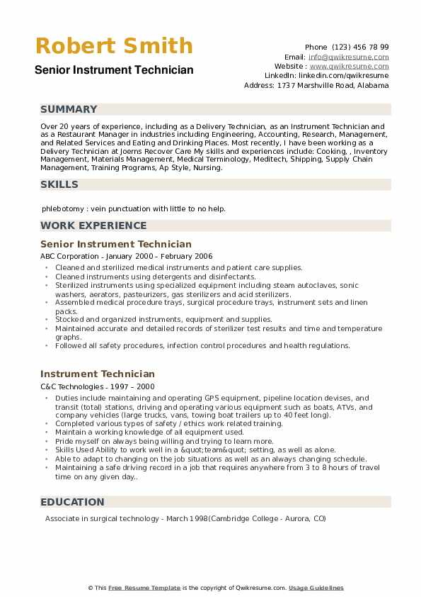 Instrument Technician Resume Samples Qwikresume