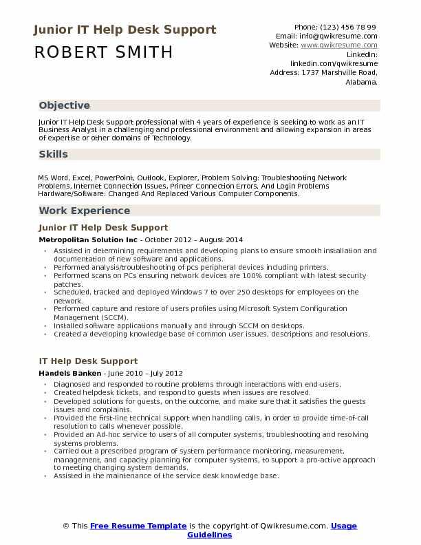 Service Desk Resume Resume Sample