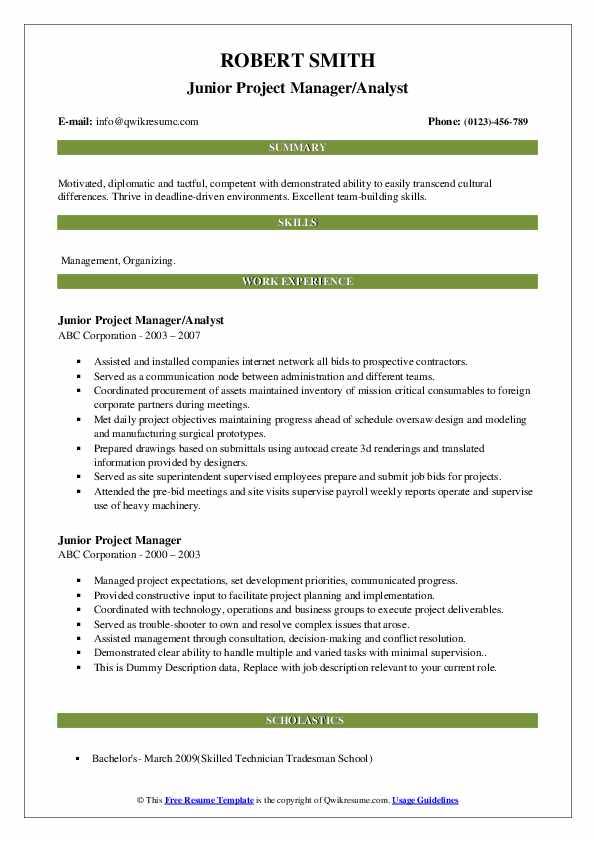 Junior Project Manager Resume Samples Qwikresume
