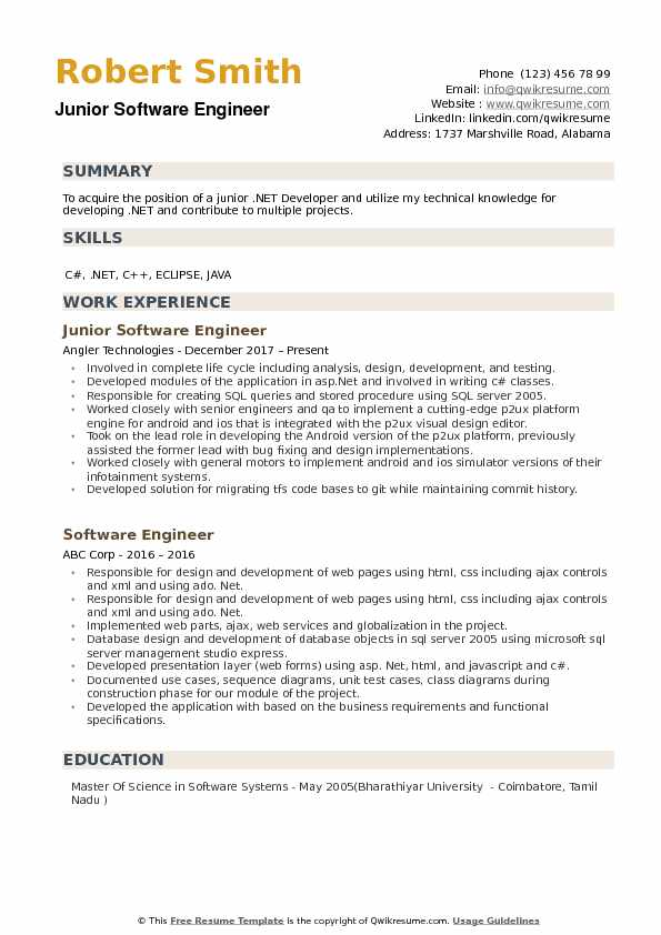 Junior Software Engineer Resume Samples Qwikresume
