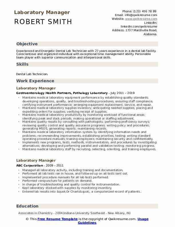 Laboratory Manager Resume Samples Qwikresume