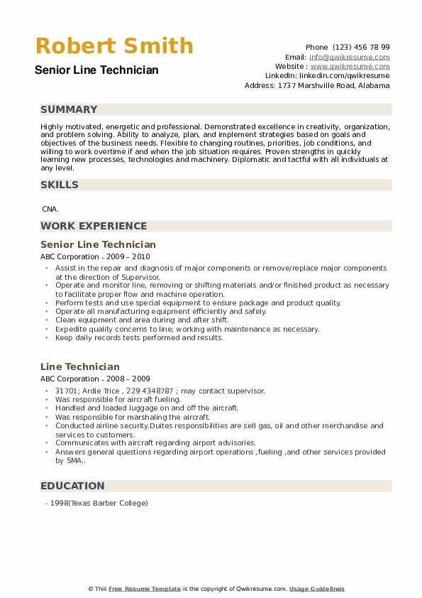 Line Technician Resume Samples Qwikresume