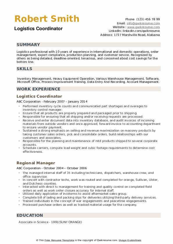 warehouse logistics resume  resume sample