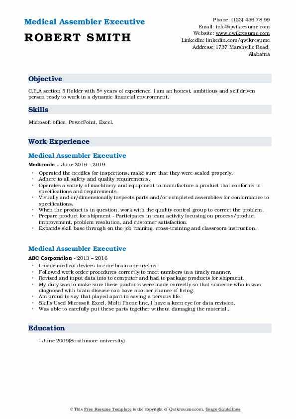 Medical Assembler Resume Samples Qwikresume