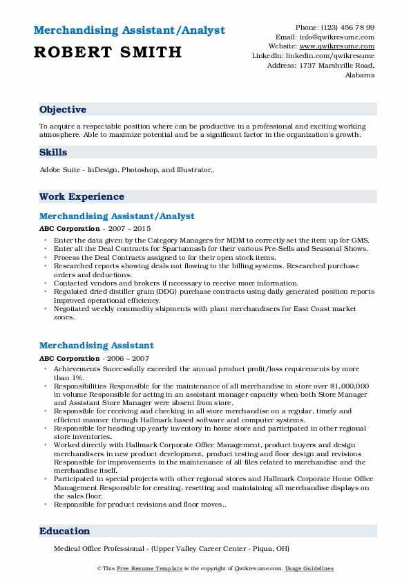 Merchandising Assistant Resume Samples Qwikresume